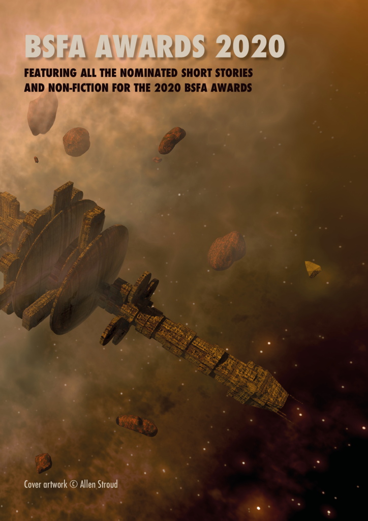 Cover of BSFA 2020 Awards Booklet: a megastructure suspended among asteroids, billowing clouds, and glowing lights